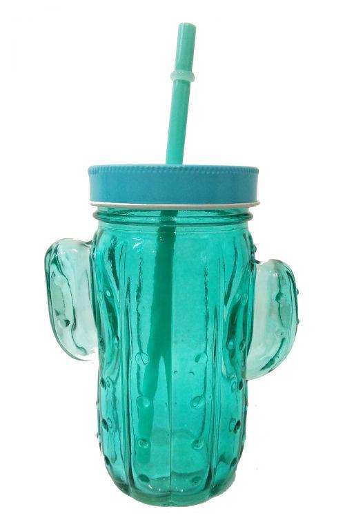 Cactus Ποτήρι με Καλαμάκι και Καπάκι - Γαλάζιο