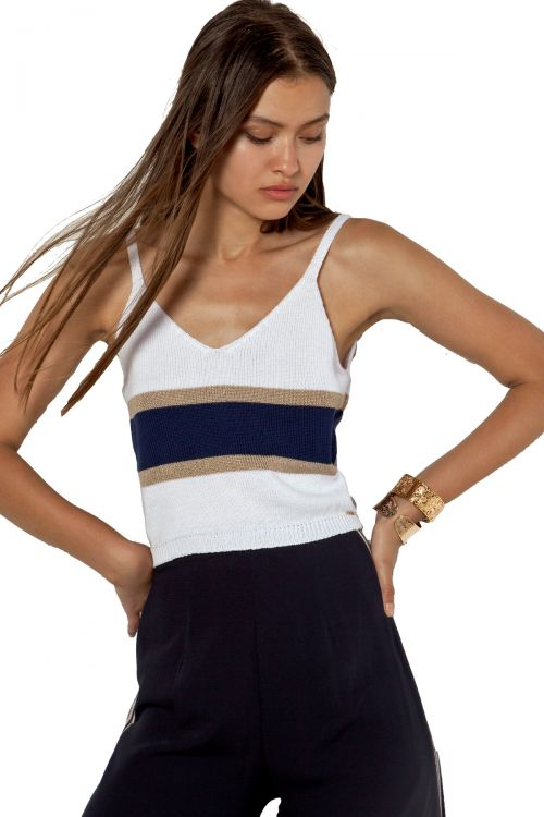 MARINE TOP AGGEL ΜΕ LUREX - White/Navy Blue