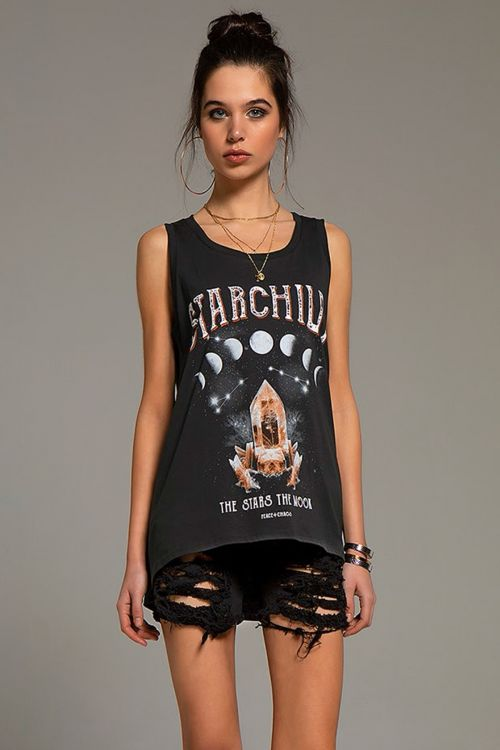 PEACE AND CHAOS STARCHILD TANK TOP - Μαύρο