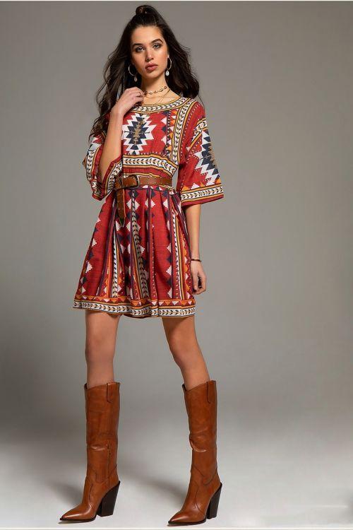 PEACE AND CHAOS LA PAZ DRESS - Κόκκινο