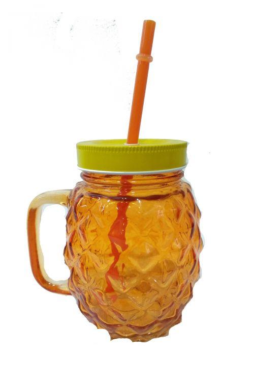Pineapple Ποτήρι με Καλαμάκι και Καπάκι - Πορτοκαλί