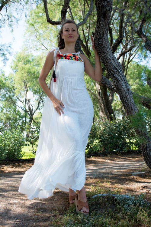 Φόρεμα Μάξι με Φλοράλ Κόψιμο - Εκρού