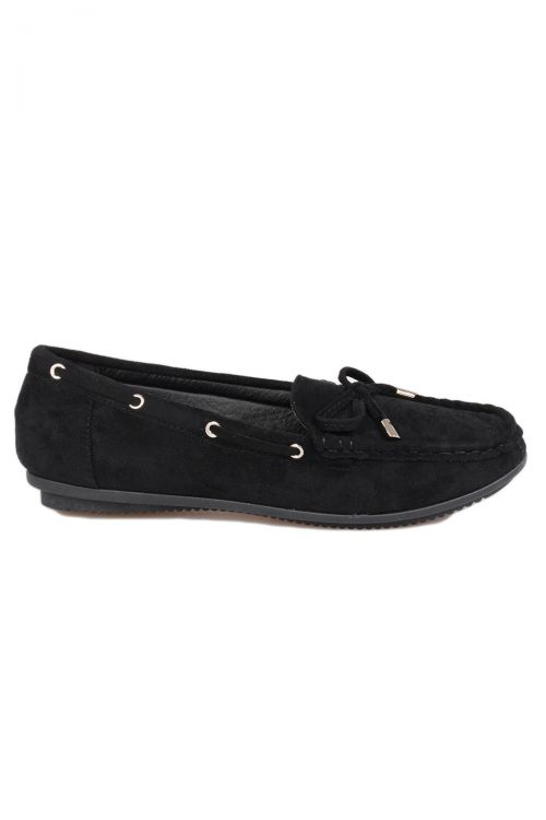 SOFT SUEDE MOCCASIN - Μαύρο