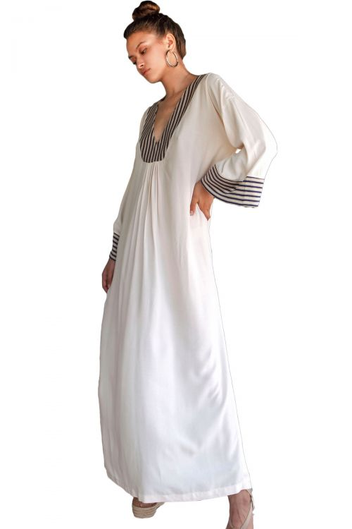 AGGEL MAXI CAFTAN EMBROIDERED - Εκρού