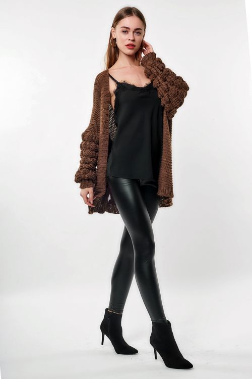 ΖΑΚΕΤΑ KNIT SLEEVE - Dark Brown