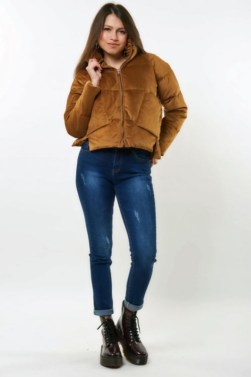 PUFFER FLASHY COAT - Camel