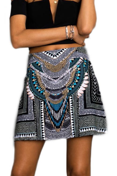 PEACE AND CHAOS TRIBAL A LINE SKIRT