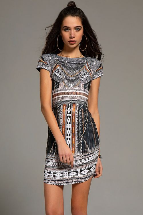 PEACE AND CHAOS GYPSY SHORT DRESS - Μαύρο