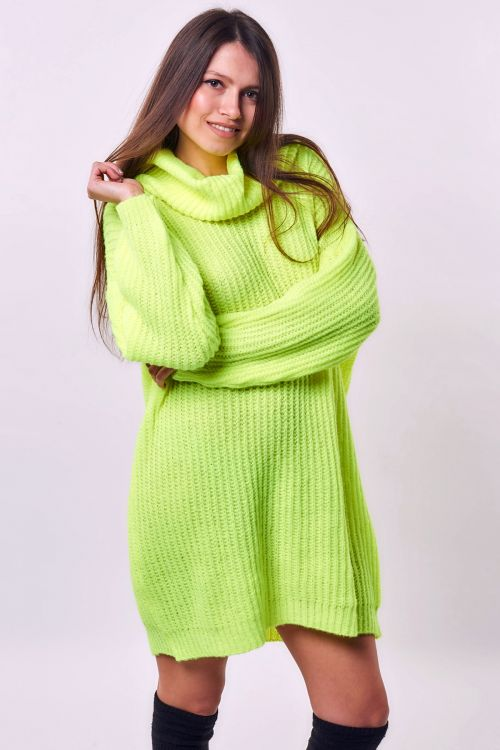 HIGH NECK LONG NEON SWEATER