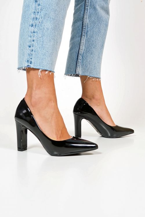 SQUARED HEEL PUMPS - Μαύρο