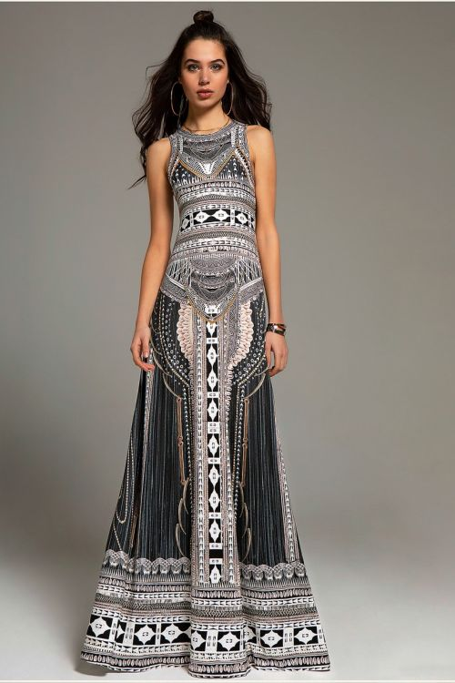 PEACE AND CHAOS GYPSY MAXI DRESS - Μαύρο