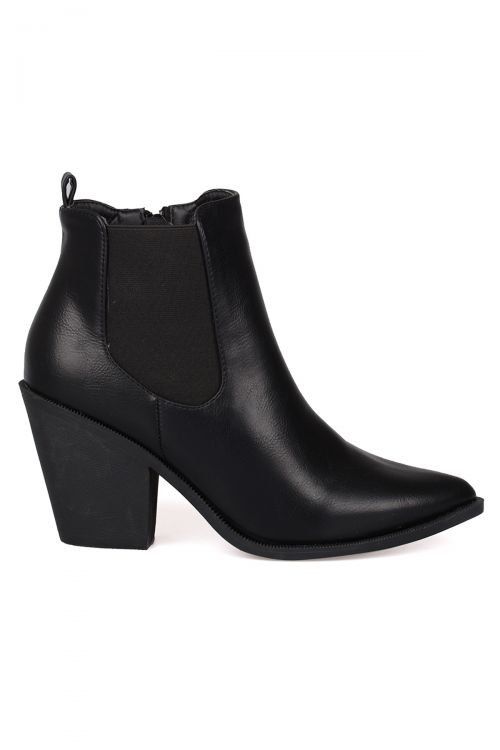 WESTERN ANKLE BOOTS - Μαύρο