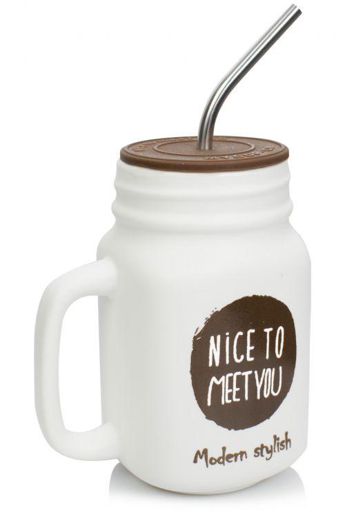 Κούπα με μεταλλικό καλαμάκι