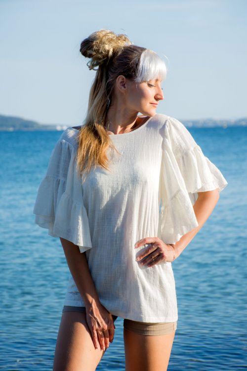 Μπλούζα Βαμβακερή με Βολάν στα Μανίκια