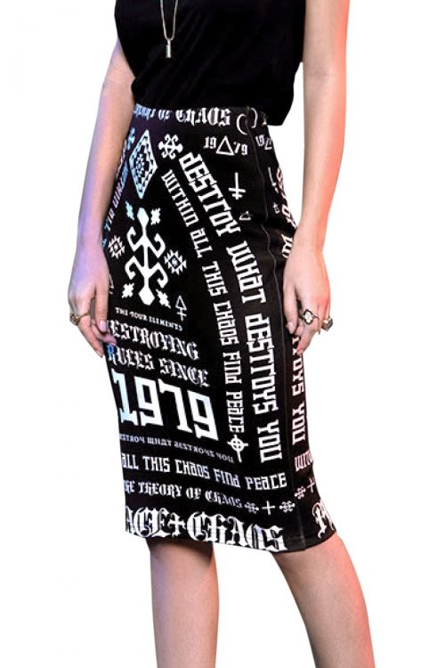 PEACE AND CHAOS DESTROY PENCIL SKIRT