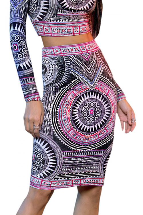 PEACE AND CHAOS ANCIENT TEMPLES PENCIL SKIRT