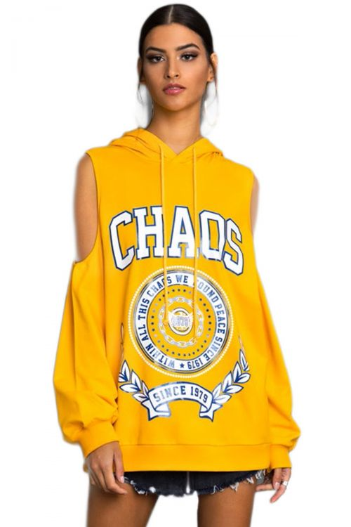PEACE AND CHAOS COLDSHOULDER HOODY