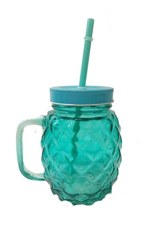 Pineapple Ποτήρι με Καλαμάκι και Καπάκι - Γαλάζιο