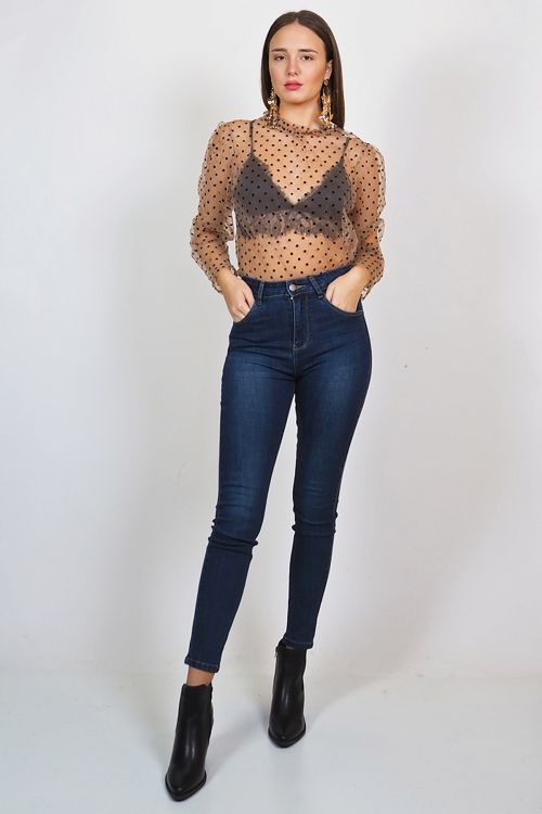 VICTORIA SPOTTED TOP - Μπεζ