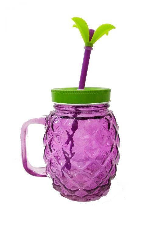 Pineapple Ποτήρι με Καλαμάκι και Καπάκι - Μωβ