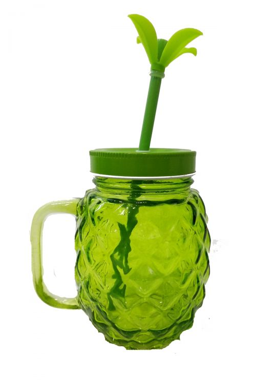 Pineapple Ποτήρι με Καλαμάκι και Καπάκι - Πράσινο