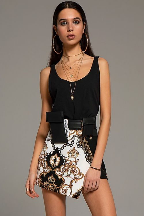 PEACE AND CHAOS GOLD FINISHINGS SKIRT - Μαύρο
