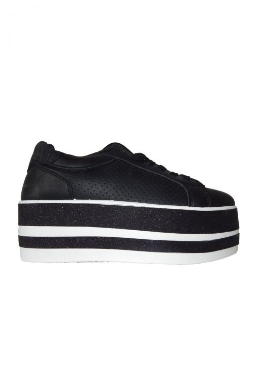HIGH STRIPED GLITTER SOLE SNEAKERS - Μαύρο