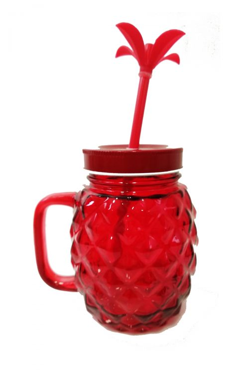 Pineapple Ποτήρι με Καλαμάκι και Καπάκι - Κόκκινο