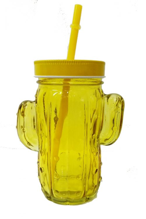 Cactus Ποτήρι με Καλαμάκι και Καπάκι - Κίτρινο