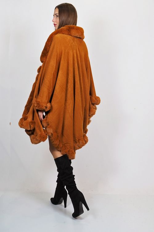 OVERSIZED ELASTIC CAPE WITH FAUX FUR - Camel