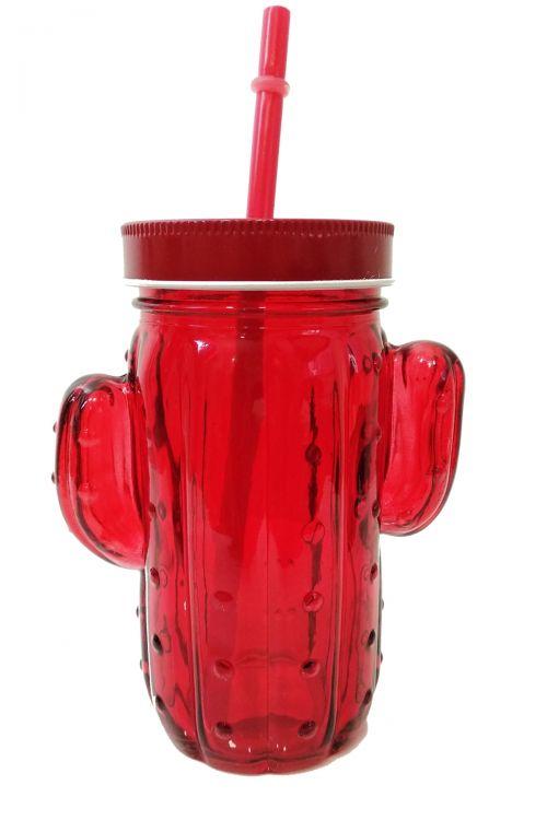Cactus Ποτήρι με Καλαμάκι και Καπάκι - Κόκκινο