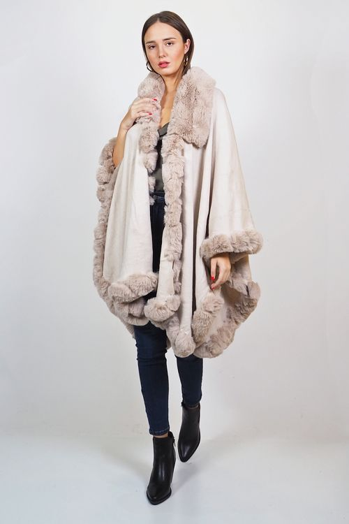 OVERSIZED ELASTIC CAPE WITH FAUX FUR - Μπεζ