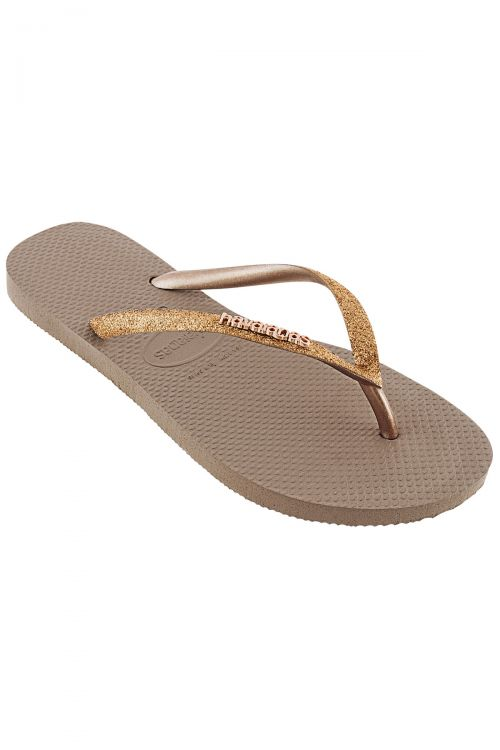 HAVAIANAS SANDALS SLIM GLITTER - Rose Gold