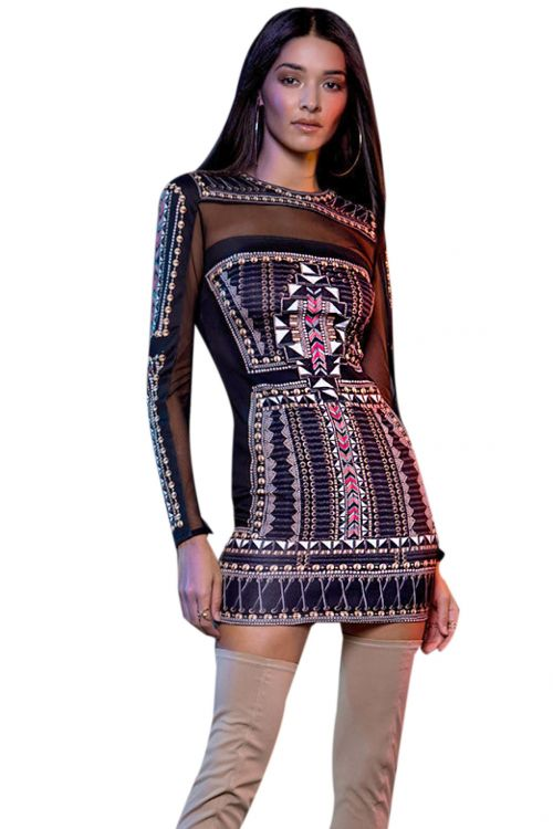 PEACE AND CHAOS GOLD MESH DRESS