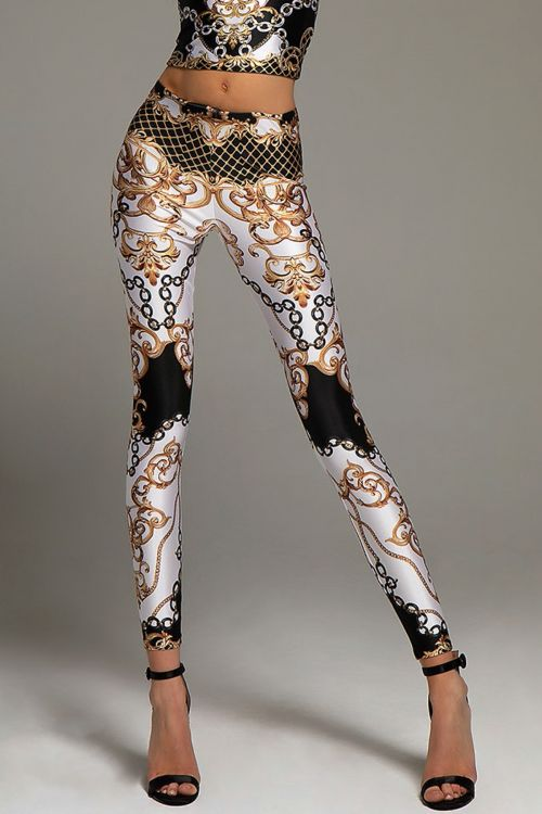 PEACE AND CHAOS GOLD FINISHING LEGGINGS - Μαύρο