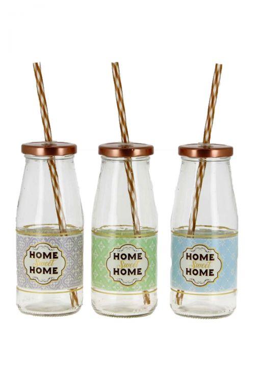 Σετ 3 τεμαχίων Ποτήρι με Καλαμάκι Home