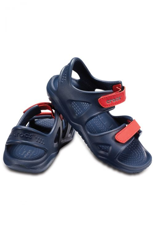 CROCS SWIFTWATER RIVER SANDAL K - Navy/Flame