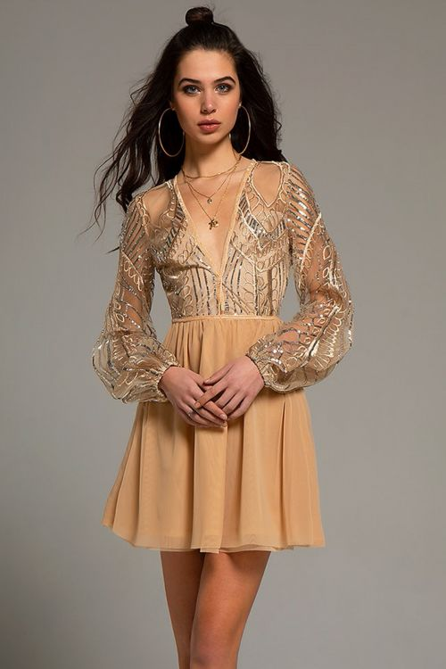 PEACE AND CHAOS SEQUINS & TULLE DRESS - Nude