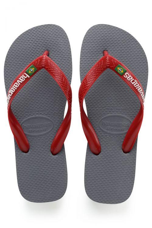 HAVAIANAS SANDALS BRASIL LOGO - Steel Grey/Red