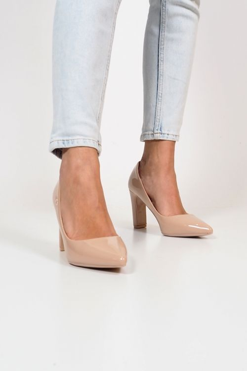 SQUARED HEEL PUMPS - Μπεζ