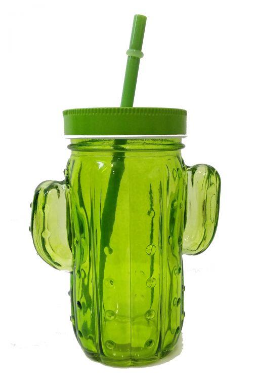 Cactus Ποτήρι με Καλαμάκι και Καπάκι - Πράσινο