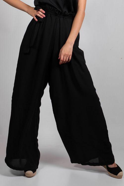 Παντελόνα με ζωνάκι Gloria - Μαύρο