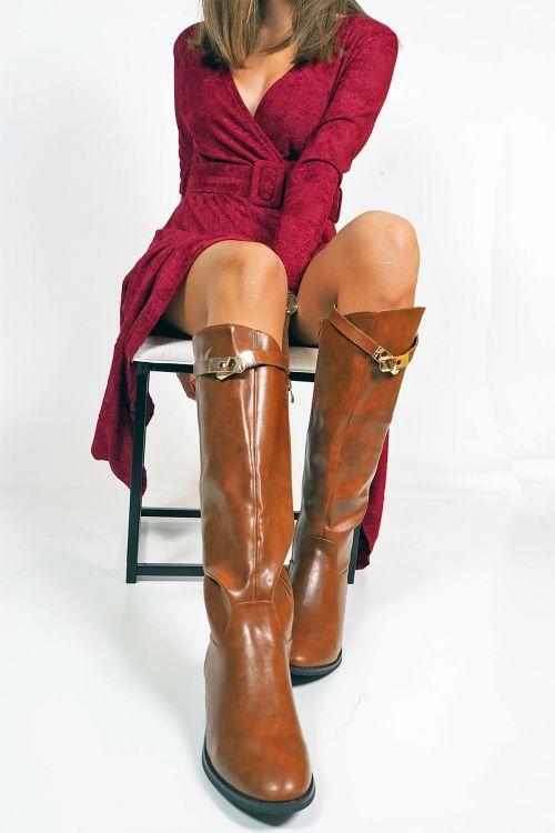 Μπότες flat buckle - Camel