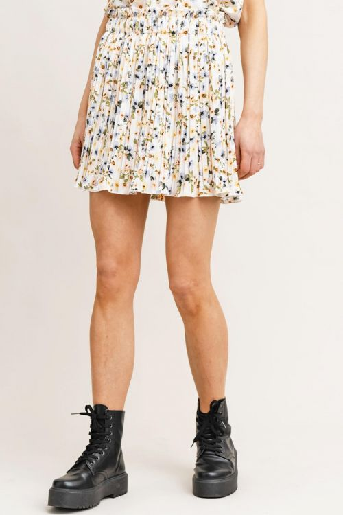 RUT & CIRCLE NORA PLEAT SKIRT - Λευκό
