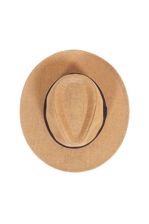 Ψάθινο καπέλο με μαύρη κορδέλα - Μπεζ