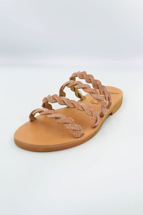 Leather Sandals Alkmini - Rose Gold