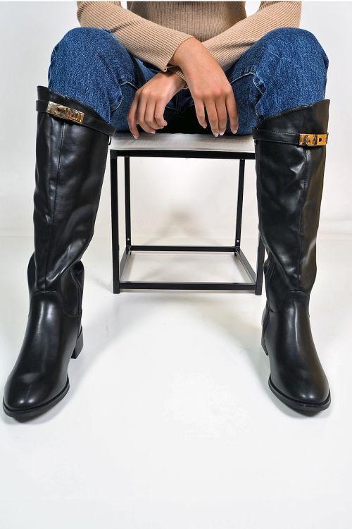 Μπότες flat buckle - Μαύρο