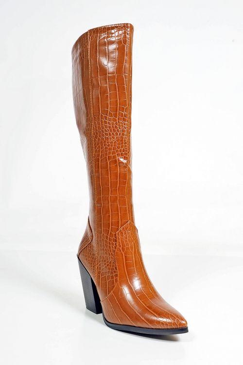 Μπότες croco Daisy - Camel