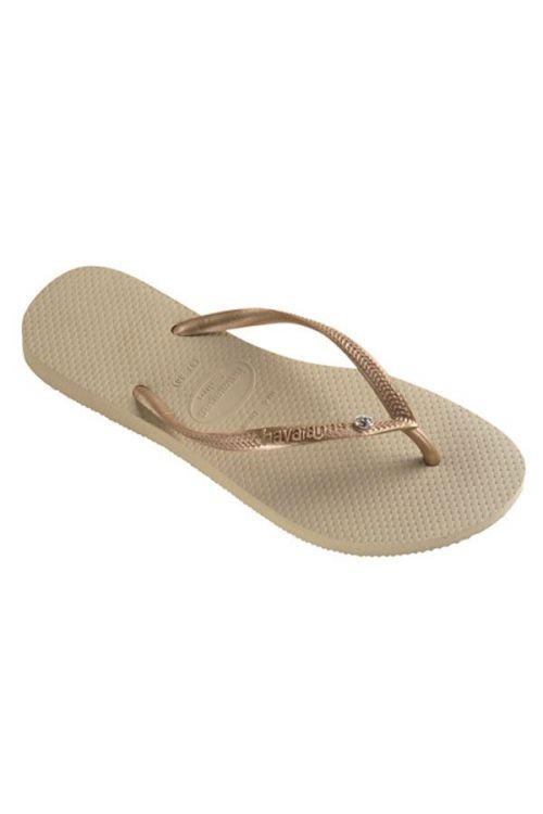 HAVAIANAS SANDALS SLIM CR SWAROVSKI - Sand Grey/Light Golden