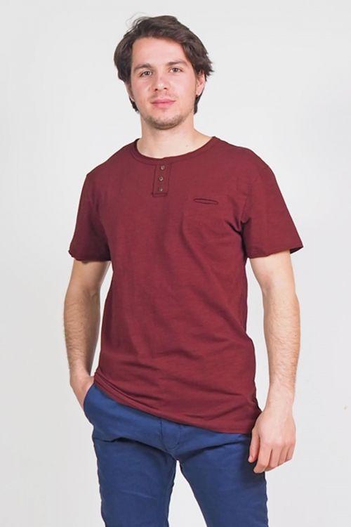 Ανδρικό t-shirt με κουμπάκια Denver - Μπορντό